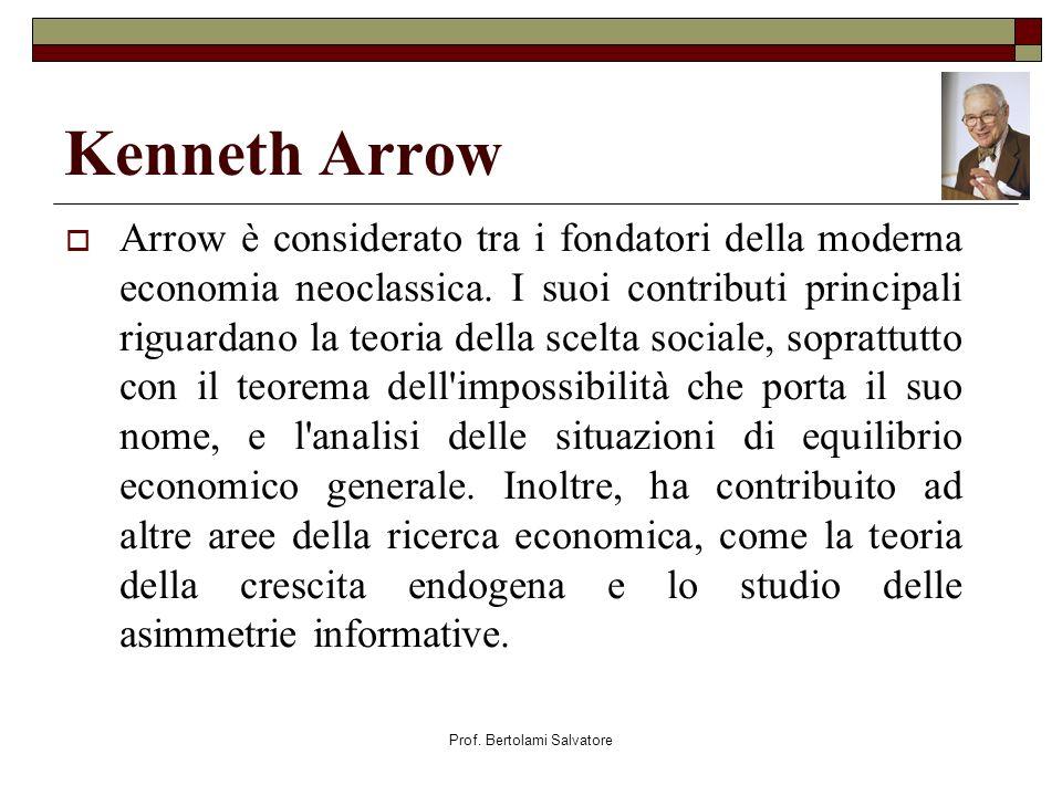 Prof. Bertolami Salvatore Kenneth Arrow Arrow è considerato tra i fondatori della moderna economia neoclassica. I suoi contributi principali riguardan