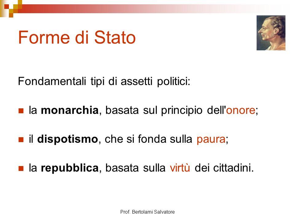 Prof. Bertolami Salvatore Forme di Stato Fondamentali tipi di assetti politici: la monarchia, basata sul principio dell'onore; il dispotismo, che si f
