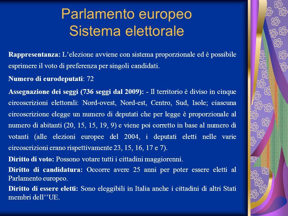 Parlamento europeo Sistema elettorale Rappresentanza: Lelezione avviene con sistema proporzionale ed è possibile esprimere il voto di preferenza per s