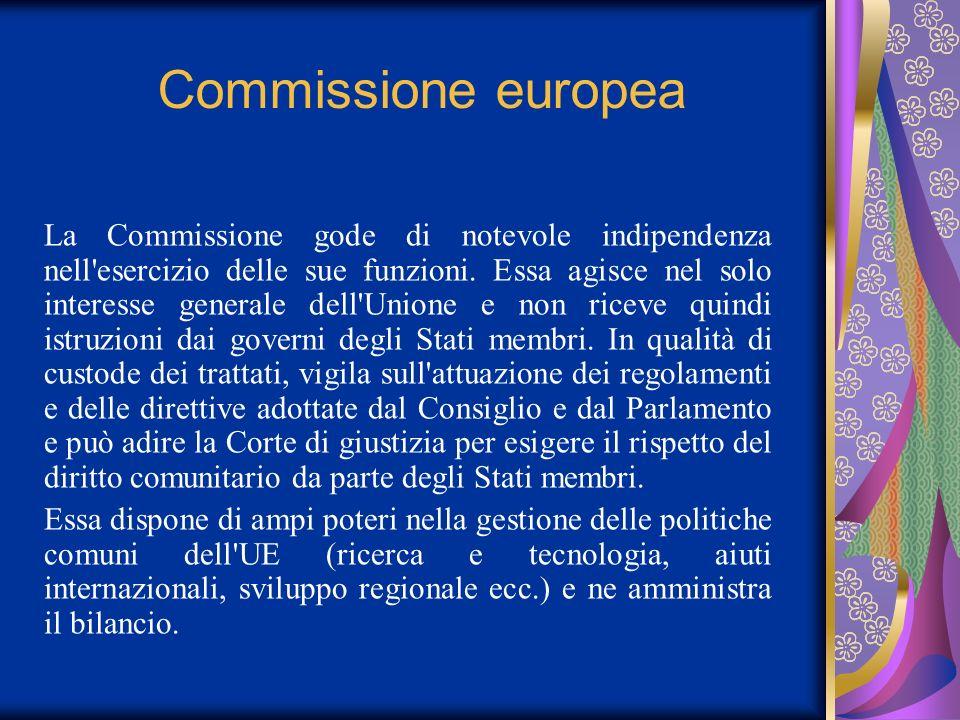 Commissione europea La Commissione gode di notevole indipendenza nell'esercizio delle sue funzioni. Essa agisce nel solo interesse generale dell'Union