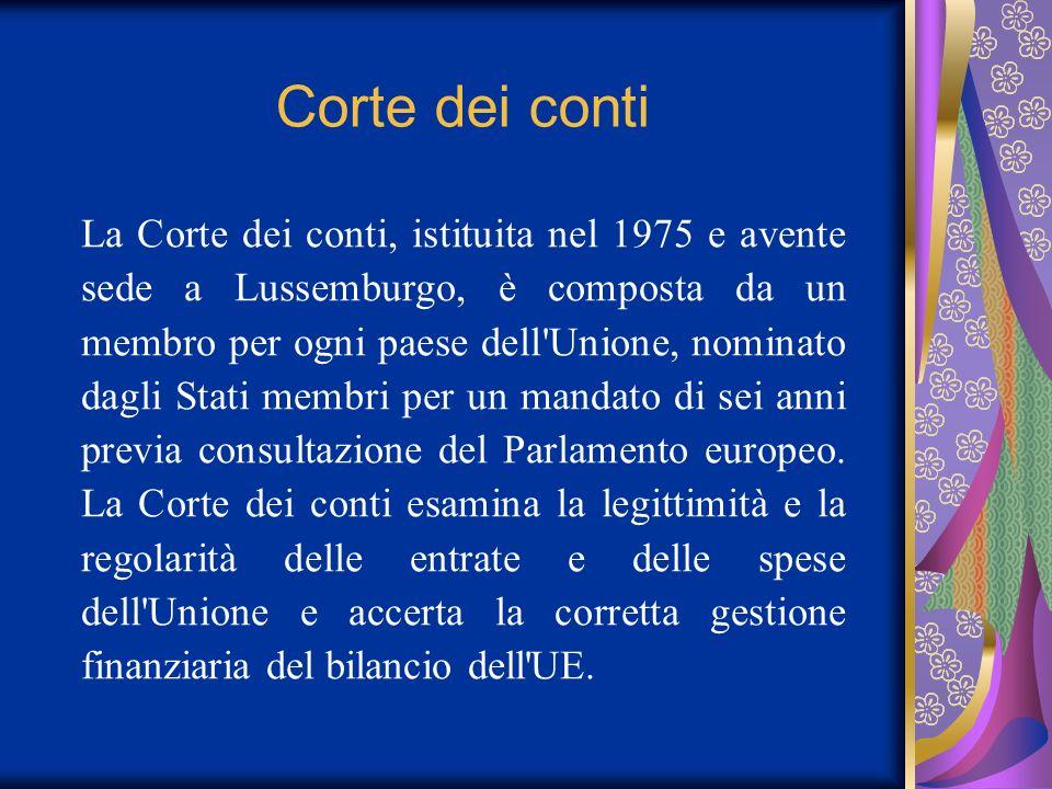 Corte dei conti La Corte dei conti, istituita nel 1975 e avente sede a Lussemburgo, è composta da un membro per ogni paese dell'Unione, nominato dagli
