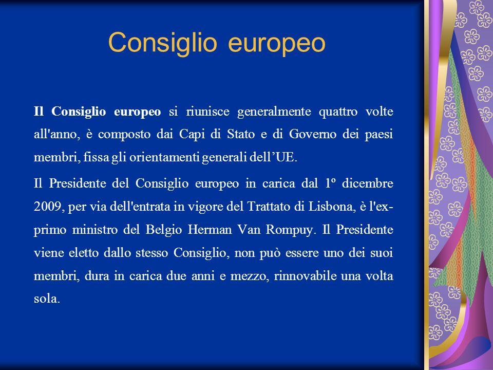 Consiglio europeo Il Consiglio europeo si riunisce generalmente quattro volte all'anno, è composto dai Capi di Stato e di Governo dei paesi membri, fi