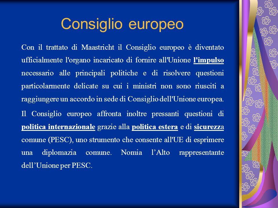 Consiglio europeo Con il trattato di Maastricht il Consiglio europeo è diventato ufficialmente l'organo incaricato di fornire all'Unione l'impulso nec