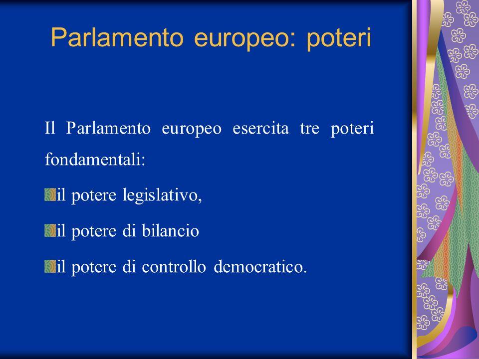 Parlamento europeo: poteri Il Parlamento europeo esercita tre poteri fondamentali: il potere legislativo, il potere di bilancio il potere di controllo