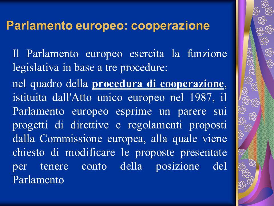Parlamento europeo: cooperazione Il Parlamento europeo esercita la funzione legislativa in base a tre procedure: nel quadro della procedura di coopera