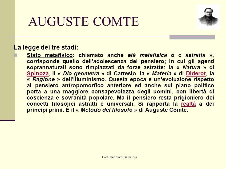 Prof. Bertolami Salvatore AUGUSTE COMTE La legge dei tre stadi: Stato metafisico: chiamato anche età metafisica o « astratta », corrisponde quello del