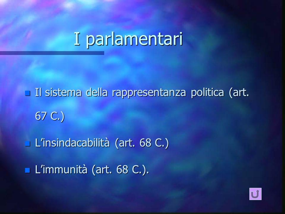 I parlamentari n Il sistema della rappresentanza politica (art.