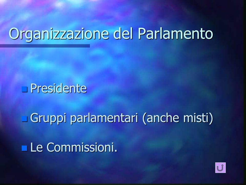 Organizzazione del Parlamento n Presidente n Gruppi parlamentari (anche misti) n Le Commissioni.