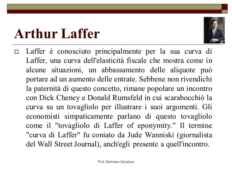 Prof. Bertolami Salvatore Arthur Laffer Laffer è conosciuto principalmente per la sua curva di Laffer, una curva dell'elasticità fiscale che mostra co