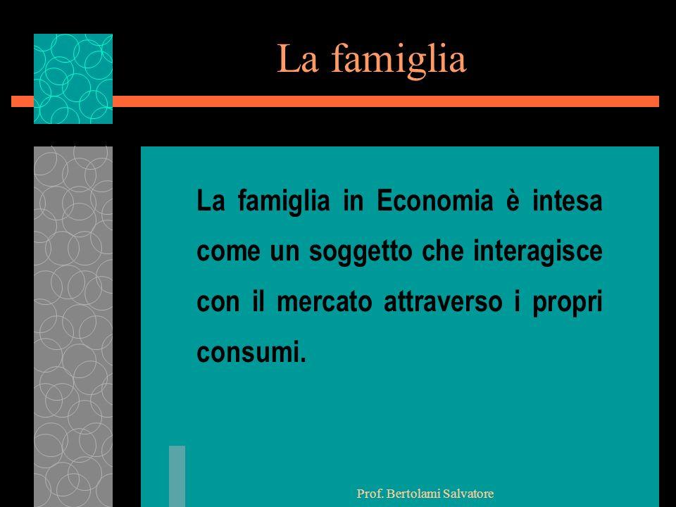 Prof. Bertolami Salvatore La ricchezza della famiglia u Reddito u Patrimonio