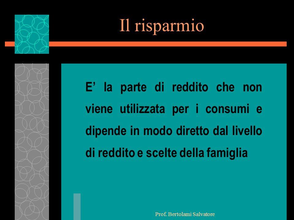 Prof. Bertolami Salvatore Il risparmio