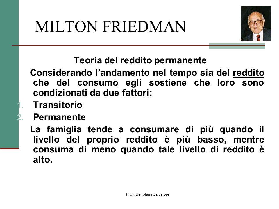 Prof. Bertolami Salvatore MILTON FRIEDMAN Teoria del reddito permanente Considerando landamento nel tempo sia del reddito che del consumo egli sostien