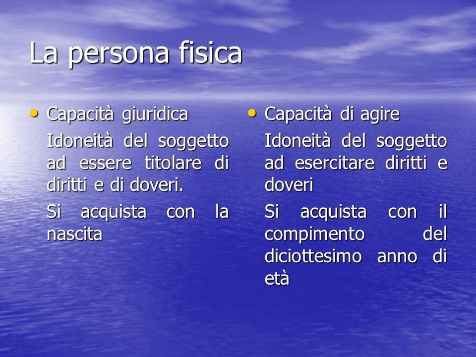 La persona fisica Capacità giuridica Capacità giuridica Idoneità del soggetto ad essere titolare di diritti e di doveri.