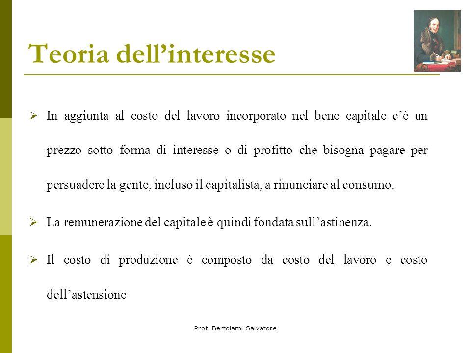 Prof. Bertolami Salvatore Teoria dellinteresse In aggiunta al costo del lavoro incorporato nel bene capitale cè un prezzo sotto forma di interesse o d