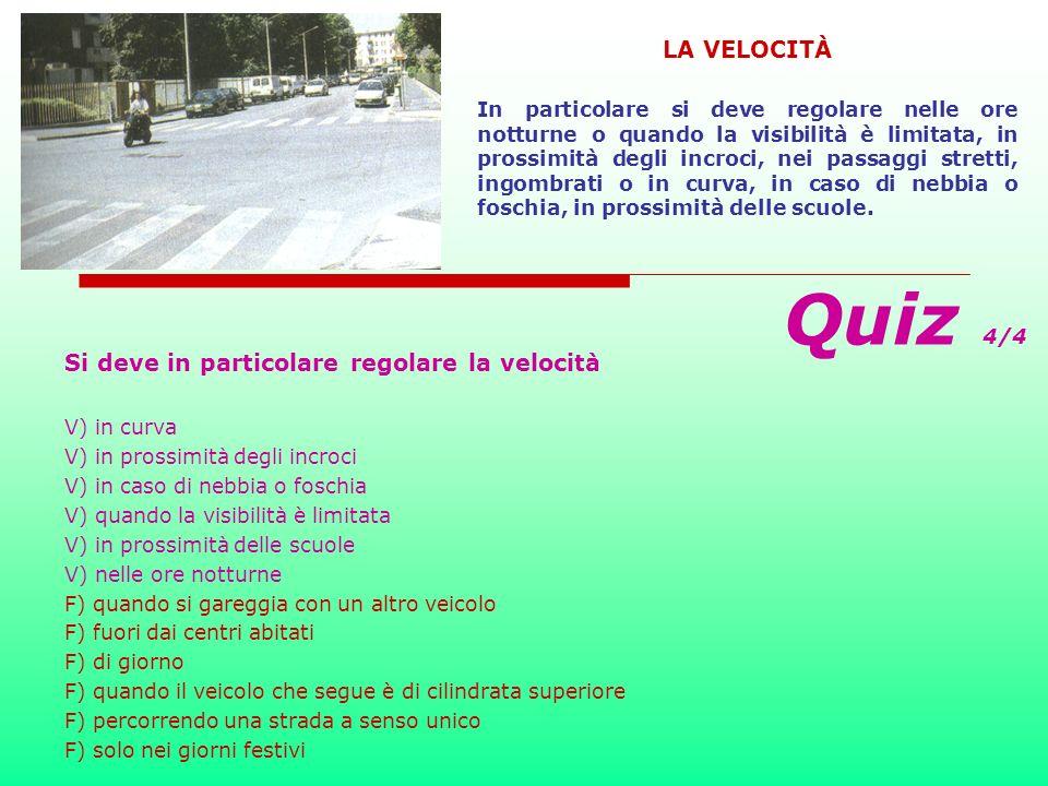 Si deve tenere una velocità V) che non costituisca pericolo per la sicurezza della circolazione V) che permetta di intervenire con sicurezza in caso d