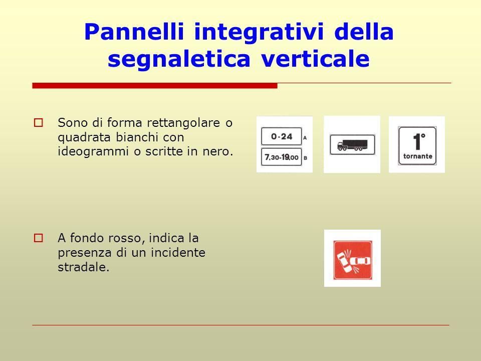Pannelli integrativi della segnaletica verticale Sono di forma rettangolare o quadrata bianchi con ideogrammi o scritte in nero. A fondo rosso, indica