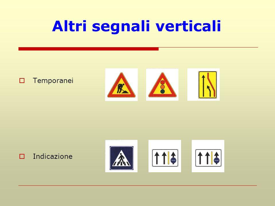 Altri segnali verticali Temporanei Indicazione