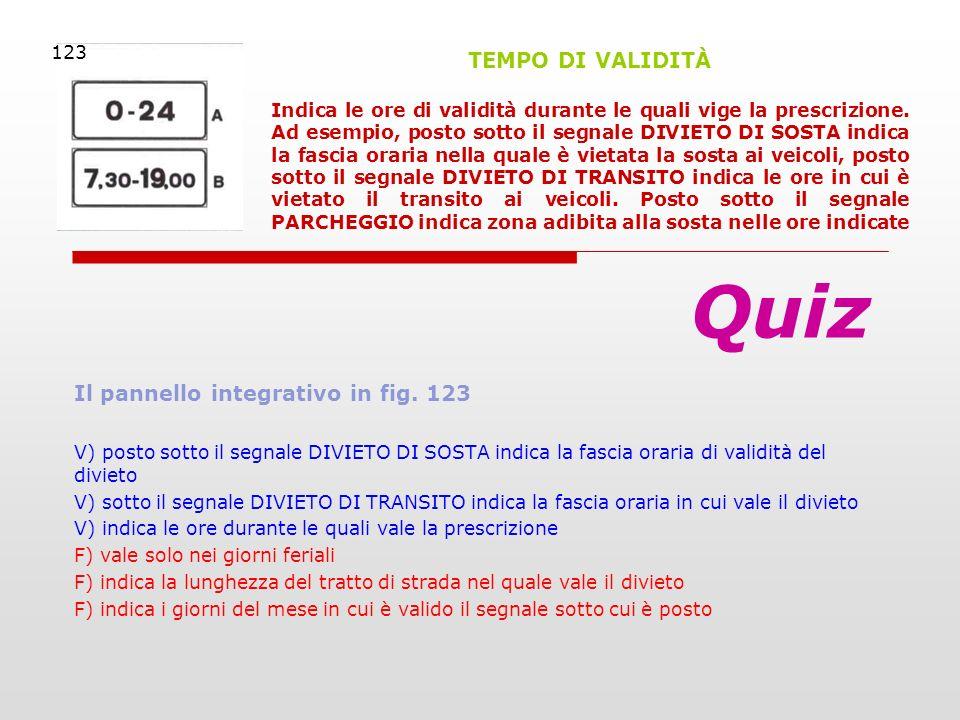 Il pannello integrativo in fig. 123 V) posto sotto il segnale DIVIETO DI SOSTA indica la fascia oraria di validità del divieto V) sotto il segnale DIV