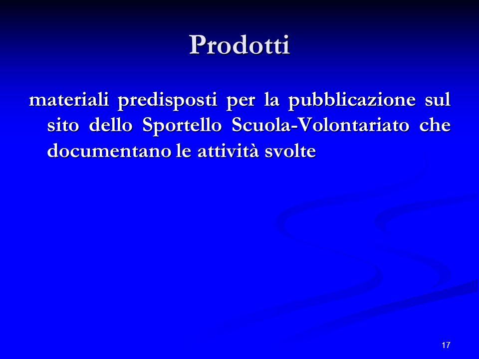 17 Prodotti materiali predisposti per la pubblicazione sul sito dello Sportello Scuola-Volontariato che documentano le attività svolte