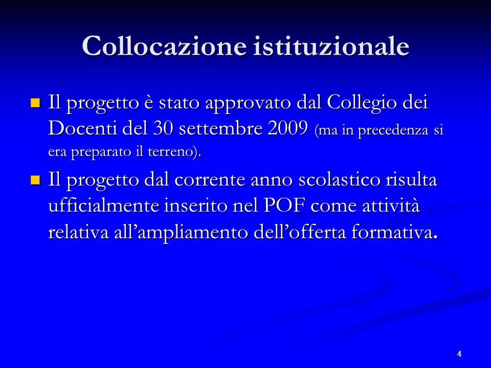 4 Collocazione istituzionale Il progetto è stato approvato dal Collegio dei Docenti del 30 settembre 2009 (ma in precedenza si era preparato il terren