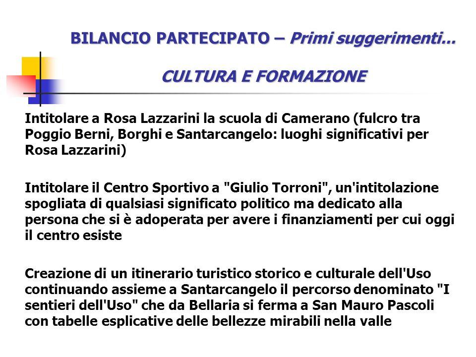 BILANCIO PARTECIPATO – Primi suggerimenti... CULTURA E FORMAZIONE Intitolare a Rosa Lazzarini la scuola di Camerano (fulcro tra Poggio Berni, Borghi e