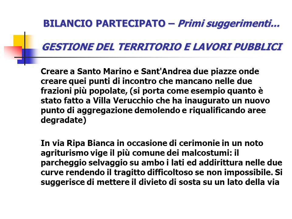 BILANCIO PARTECIPATO – Primi suggerimenti... GESTIONE DEL TERRITORIO E LAVORI PUBBLICI Creare a Santo Marino e Sant'Andrea due piazze onde creare quei