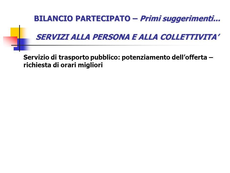 BILANCIO PARTECIPATO – Primi suggerimenti... SERVIZI ALLA PERSONA E ALLA COLLETTIVITA Servizio di trasporto pubblico: potenziamento dellofferta – rich