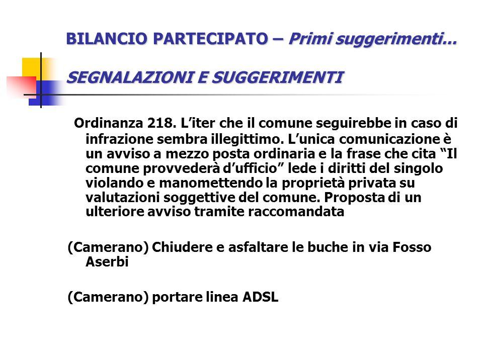 BILANCIO PARTECIPATO – Primi suggerimenti... SEGNALAZIONI E SUGGERIMENTI Ordinanza 218.