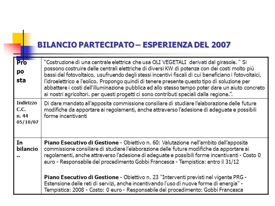 BILANCIO PARTECIPATO – ESPERIENZA DEL 2007 Pro po sta Costruzione di una centrale elettrica che usa OLI VEGETALI derivati dal girasole.