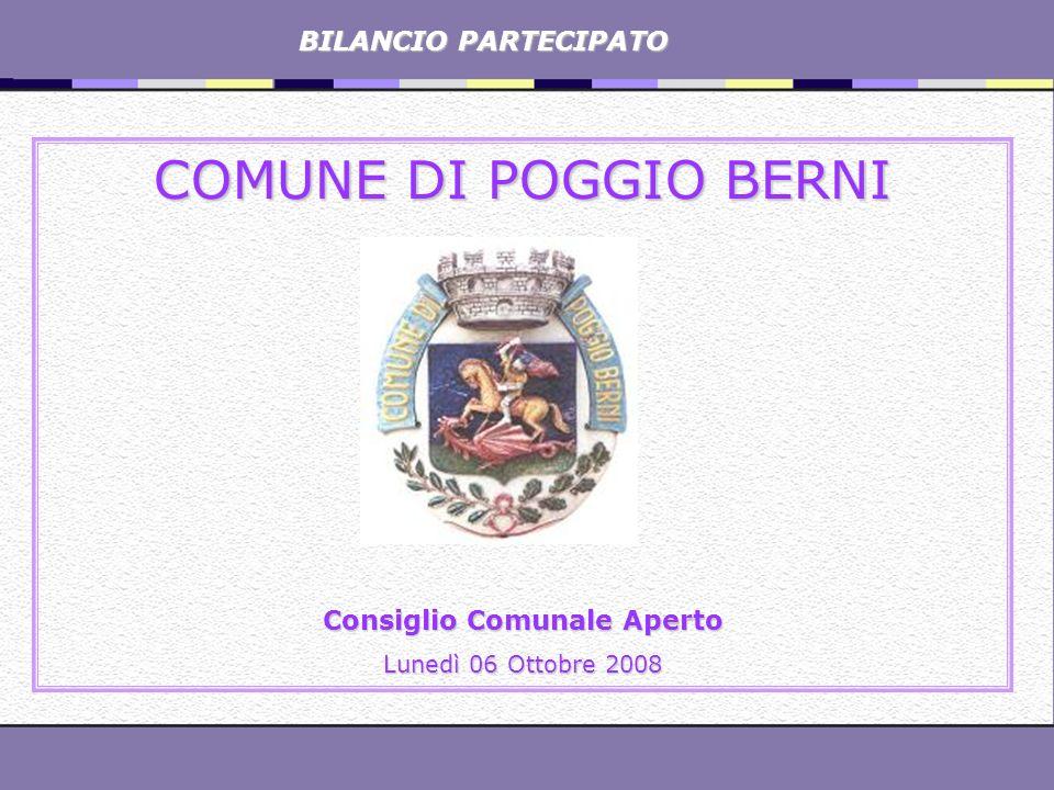 BILANCIO PARTECIPATO BILANCIO PARTECIPATO COMUNE DI POGGIO BERNI Consiglio Comunale Aperto Lunedì 06 Ottobre 2008