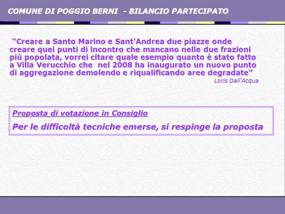 COMUNE DI POGGIO BERNI - BILANCIO PARTECIPATO Creare a Santo Marino e Sant'Andrea due piazze onde creare quei punti di incontro che mancano nelle due
