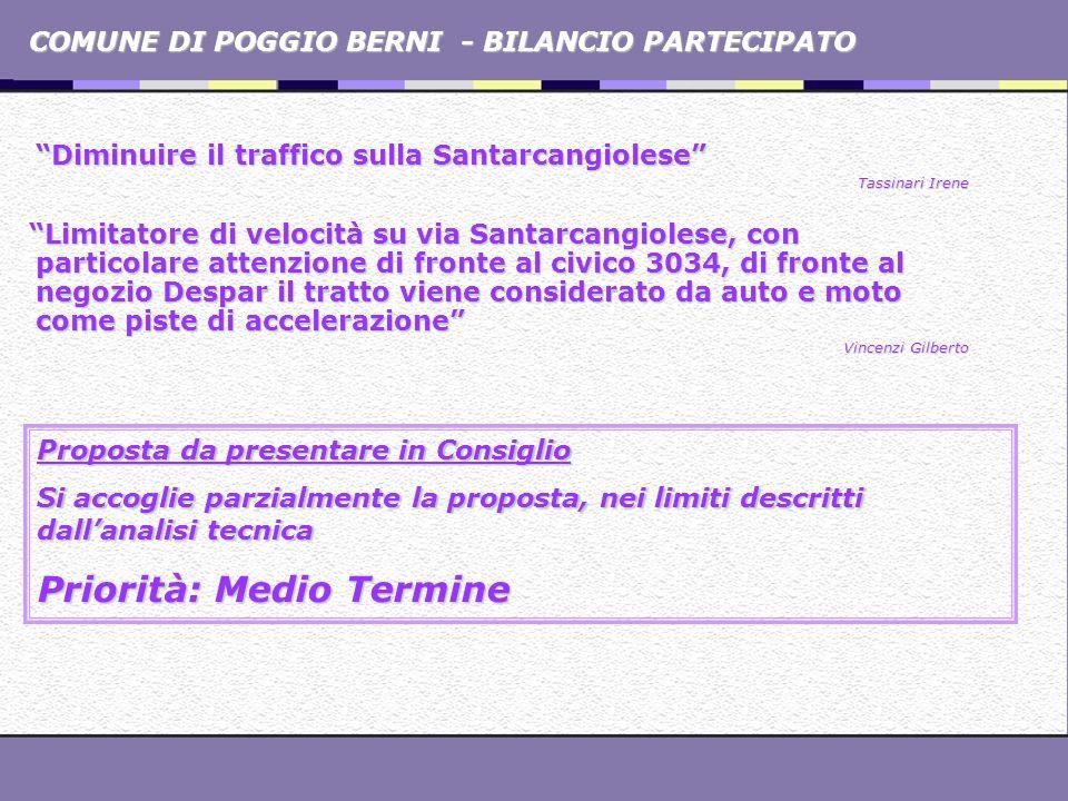 COMUNE DI POGGIO BERNI - BILANCIO PARTECIPATO Diminuire il traffico sulla Santarcangiolese Tassinari Irene Limitatore di velocità su via Santarcangiol