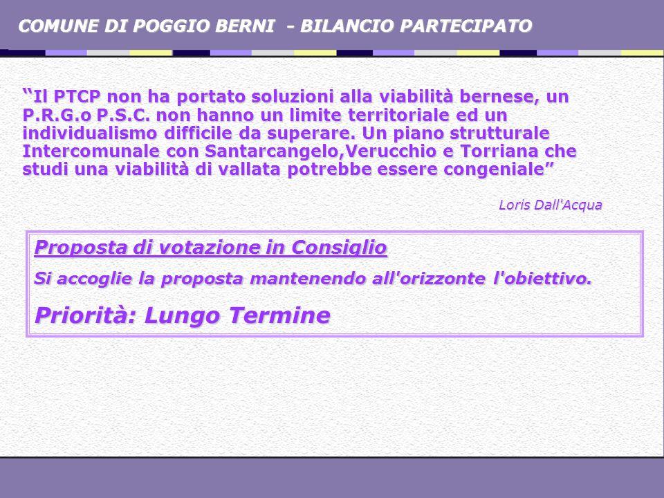 COMUNE DI POGGIO BERNI - BILANCIO PARTECIPATO Il PTCP non ha portato soluzioni alla viabilità bernese, un P.R.G.o P.S.C. non hanno un limite territori