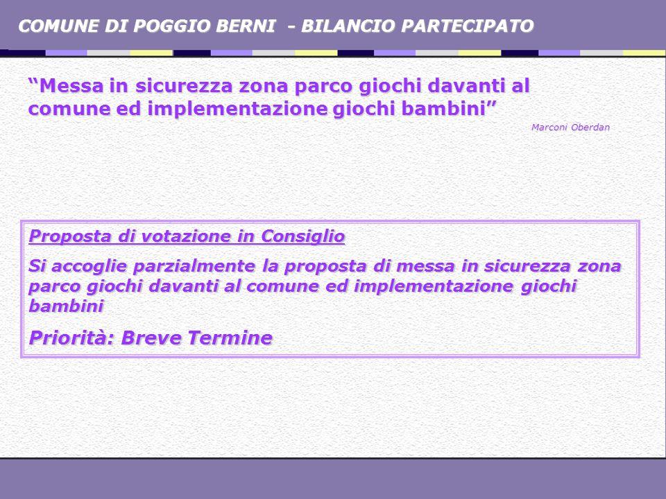 COMUNE DI POGGIO BERNI - BILANCIO PARTECIPATO Promuovere mercatini di prodotti tipici locali Promuovere mercatini di prodotti tipici locali Loris Dall Acqua Proposta di votazione in Consiglio Si accoglie la proposta, con lindicazione di aderire alla proposta della Regione Emilia Romagna della costituzione di un Albo Comunale delle botteghe e dei mercati storici, nonchè di tenere informata la cittadinanza e favorirne ladesione Priorità: Medio Termine
