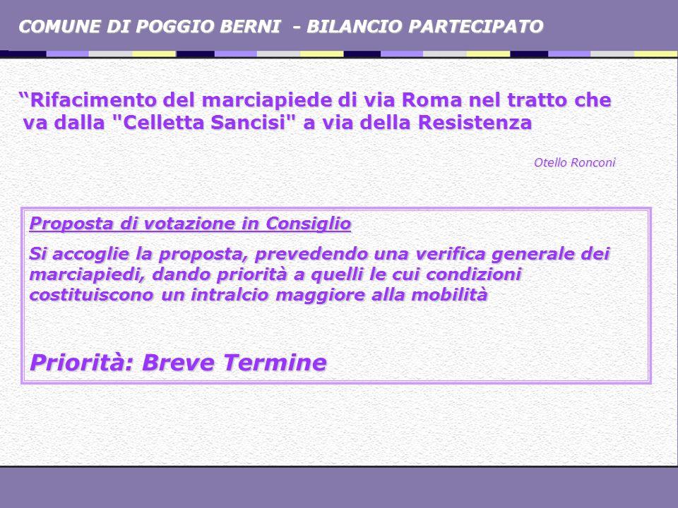 COMUNE DI POGGIO BERNI - BILANCIO PARTECIPATO Rifacimento del marciapiede di via Roma nel tratto che va dalla