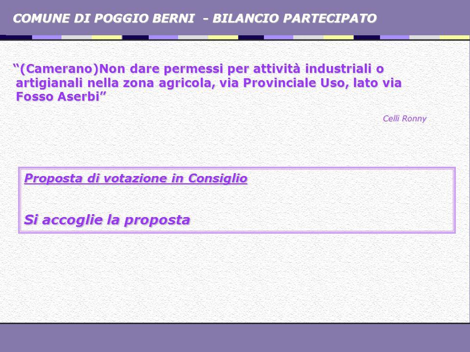 COMUNE DI POGGIO BERNI - BILANCIO PARTECIPATO (Camerano)Non dare permessi per attività industriali o artigianali nella zona agricola, via Provinciale