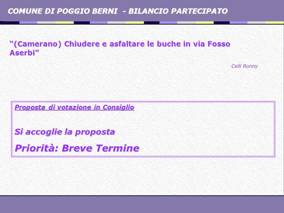 COMUNE DI POGGIO BERNI - BILANCIO PARTECIPATO (Camerano) Chiudere e asfaltare le buche in via Fosso Aserbi Celli Ronny Proposta di votazione in Consig