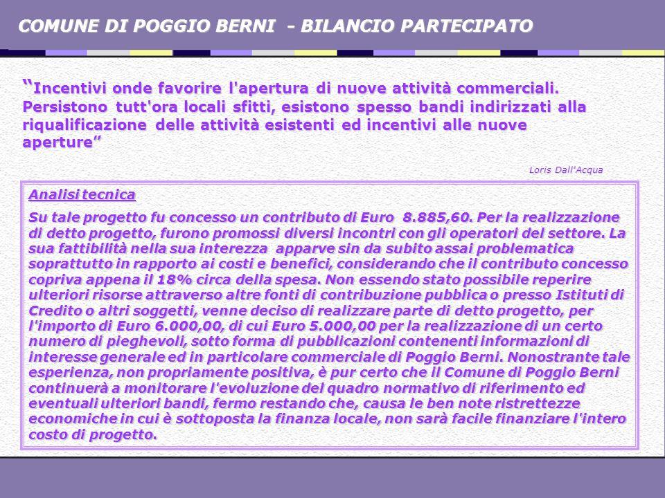 COMUNE DI POGGIO BERNI - BILANCIO PARTECIPATO Incentivi onde favorire l'apertura di nuove attività commerciali. Persistono tutt'ora locali sfitti, esi