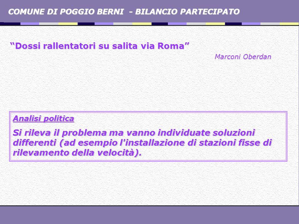 COMUNE DI POGGIO BERNI - BILANCIO PARTECIPATO Dossi rallentatori su salita via Roma Marconi Oberdan Analisi politica Si rileva il problema ma vanno in