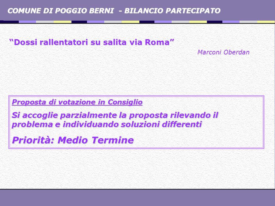 COMUNE DI POGGIO BERNI - BILANCIO PARTECIPATO Dossi rallentatori su salita via Roma Marconi Oberdan Proposta di votazione in Consiglio Si accoglie par