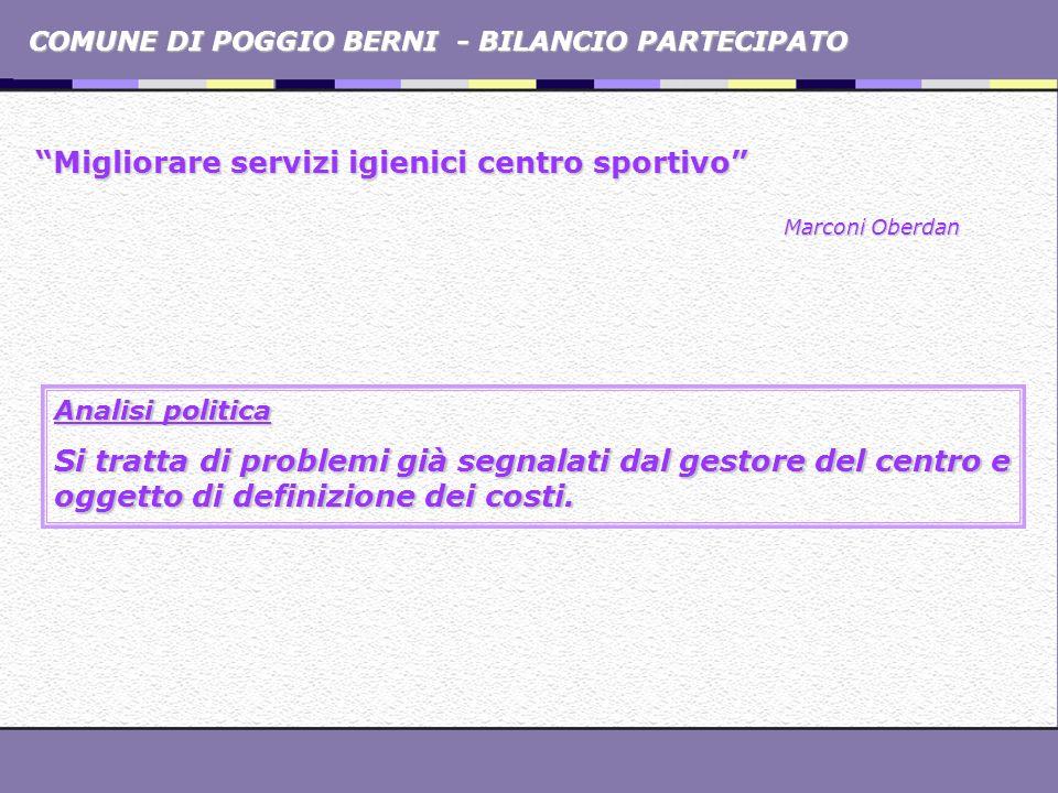 COMUNE DI POGGIO BERNI - BILANCIO PARTECIPATO Migliorare servizi igienici centro sportivo Marconi Oberdan Analisi politica Si tratta di problemi già s