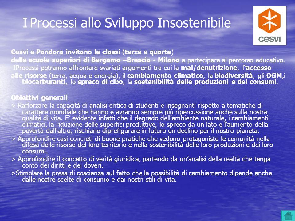 Cesvi e Pandora invitano le classi (terze e quarte) delle scuole superiori di Bergamo –Brescia - Milano a partecipare al percorso educativo. IProcessi