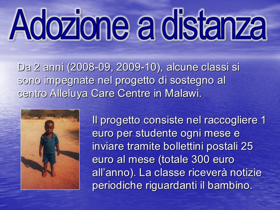 Da 2 anni (2008-09, 2009-10), alcune classi si sono impegnate nel progetto di sostegno al centro Alleluya Care Centre in Malawi. Il progetto consiste