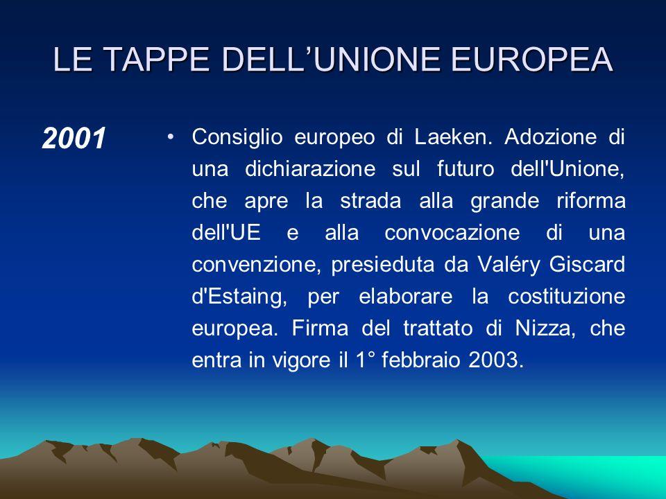LE TAPPE DELLUNIONE EUROPEA 1999 Inizia la terza fase dell'UEM: l'euro diventa la moneta ufficiale di 11 Stati membri e viene introdotto sui mercati f