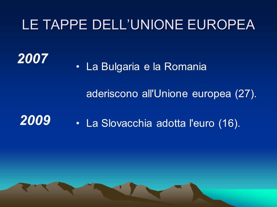 LE TAPPE DELLUNIONE EUROPEA 2005 La costituzione viene respinta con un referendum prima in Francia e poi dallOlanda.
