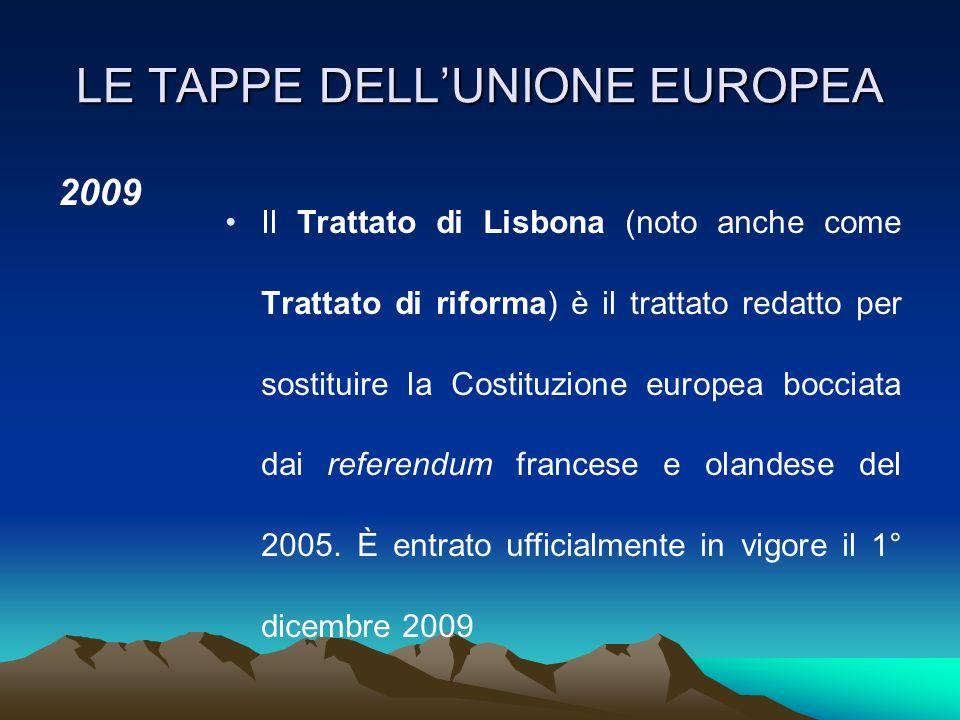 LE TAPPE DELLUNIONE EUROPEA 2007 La Bulgaria e la Romania aderiscono all'Unione europea (27). La Slovacchia adotta l'euro (16). 2009