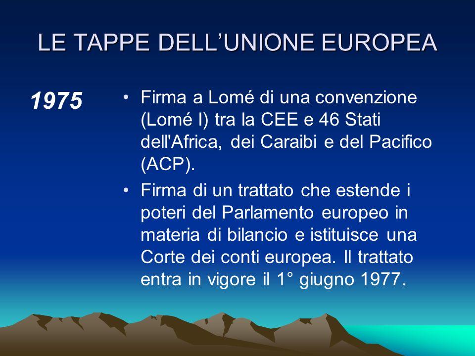 LE TAPPE DELLUNIONE EUROPEA 1970 Creazione di nuovi strumenti politici: CPE (Istituto per la cooperazione politica europea) che consente agli stati me