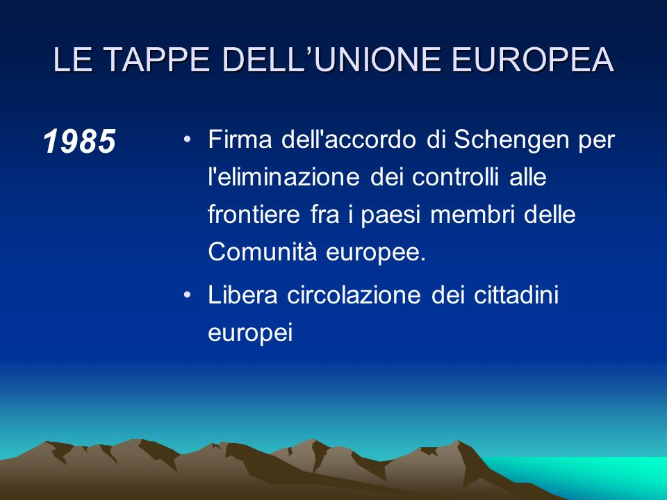 LE TAPPE DELLUNIONE EUROPEA 1979 Prime elezioni a suffragio universale diretto dei 410 membri del Parlamento europeo.Istituzione SME (Sistema monetari