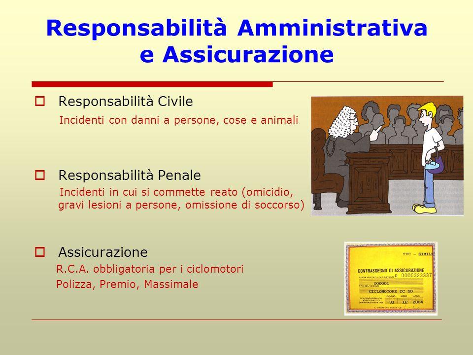 Responsabilità Amministrativa e Assicurazione Responsabilità Civile Incidenti con danni a persone, cose e animali Responsabilità Penale Incidenti in c