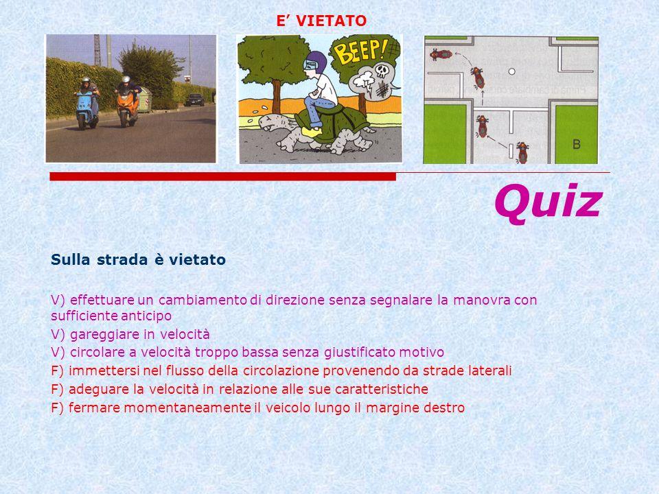 Sulla strada è vietato V) effettuare un cambiamento di direzione senza segnalare la manovra con sufficiente anticipo V) gareggiare in velocità V) circ